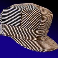 blue and white stripped engineer hat